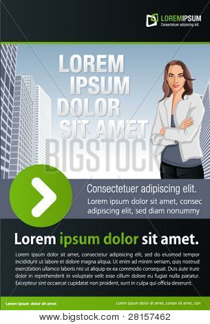 Green and black template for advertising brochure with woman on the city
