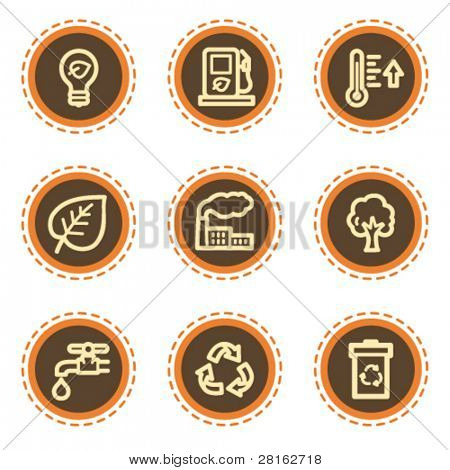Ecology web icons set 1, vintage buttons