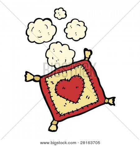 dusty old stitched heart cushion cartoon