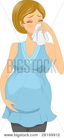 Illustration of a Sick Pregnant Woman