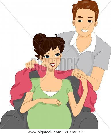 Illustration of a Husband Wrapping His Wife with a Blanket