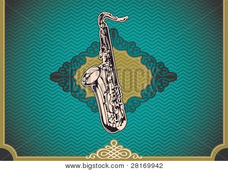 Vintage poster with saxophone. Vector illustration