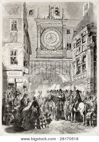 Gros-Horloge (big clock) during town feast old illustration, Rouen, France. Created by Worms, published on L'Illustration, Journal Universel, Paris, 1858