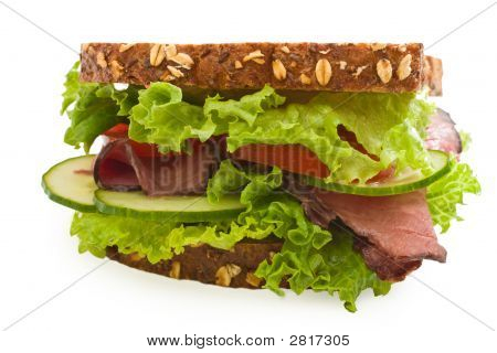Multi-Grain Angus Roast Beef Sandwich Isolated On White #4