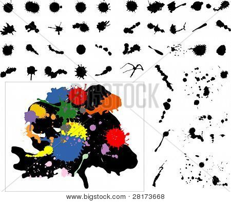 "Highly detailed ink splats, blots. Can also be used as dirt, sand, bread crumbs. Vector version of this image (""*.eps"") also available in my portfolio."