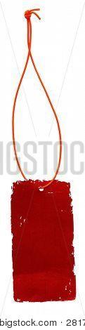 Rótulo glam vermelho antigo com laço isolado no branco
