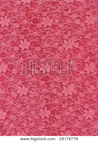 Pink lace fabric textile texture to background