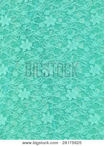 Turquoise lace fabric textile texture to background