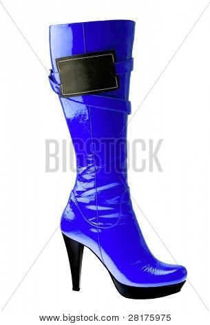 Stylish high heel fashion blue boot with empy label isolated on white