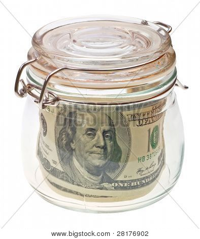 Money in the glass jar isolated on white background