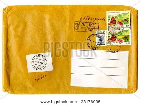 Vintage envelope for a letter isolated on white