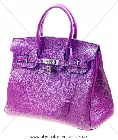 Purple woman bag isolated on the white background