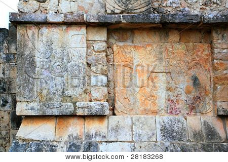 Chichen Itza hieroglyphics Mayan sculptures in Mexico Pyramids