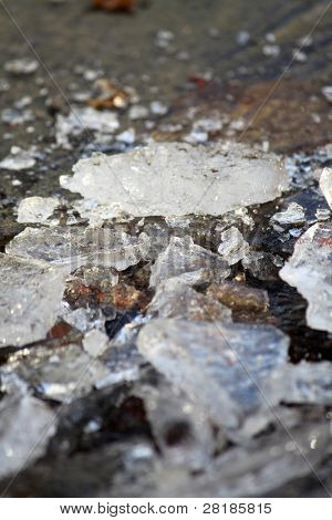 A closeup of a broken ice on a street