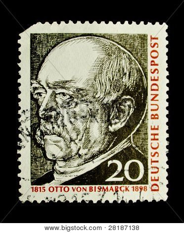 GERMANY-CIRCA 1998: A stamp printed in the Germany shows portrait of Otto von Bismarck, circa 1998