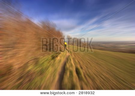 Bicyclist, Motion Blurred Effect