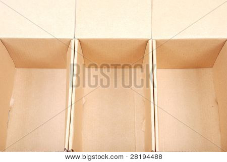 Close-up Of Three Open Cardboard Boxes