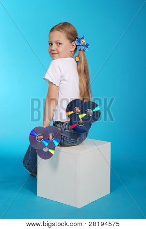 The Girl Holds Cd On Block