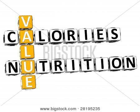 3D Values Calories Nutrition Crossword