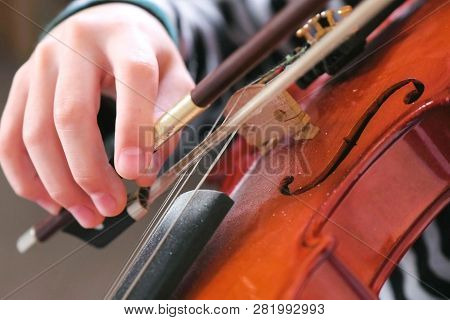 Violin In Boys Hands Boy