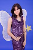 stock photo of tinkerbell  - young beautiful woman dressed as tinkerbell - JPG
