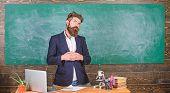 Teacher Bearded Man Tell Interesting Story. Teacher Interesting Interlocutor Best Friend. Teacher Ch poster