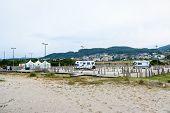 Parking Spot For Motorhomes Or Campervans In Afife Beach Portugal. poster