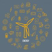 Line Style Vector Illustration Of Renewable Resources. Green Energy Symbols - Solar Panel, Wind Ener poster