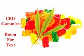 Marijuana edibles. THC and CBD infused Gummy candy jellies. Isolated on white. Room for text. Medica poster