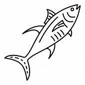 Marine Tuna Fish Icon. Outline Marine Tuna Fish Vector Icon For Web Design Isolated On White Backgro poster