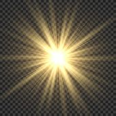Realistic Sun Rays. Yellow Sun Ray Glow Abstract Shine Light Effect Starburst Sbeam Sunshine Glowing poster