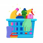 Cleaning Bottles Basket. Detergent Laundry Service Chemical Items Freshener Tools Vector Flat Pictur poster