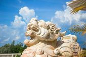 Lion Marble Face, Chinese Lion, Stone Carving Sculpture ,the Symbol Of Power, By Chinese. Stone Lion poster