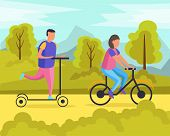 Lazy Weekends People Flat Composition With Man And Woman Riding In The Park Vector Illustration poster