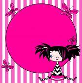foto of emo  - Place card of emo stile funny girl - JPG