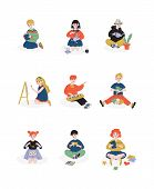 Children And Their Hobbies Set, Boys And Girls Caring For Plants, Reading, Painting, Needlework, Hob poster