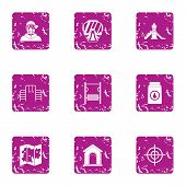Place Of War Icons Set. Grunge Set Of 9 Place Of War Icons For Web Isolated On White Background poster