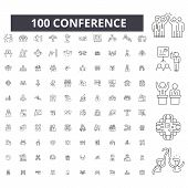 Conference Editable Line Icons, 100 Vector Set, Collection. Conference Black Outline Illustrations,  poster