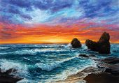 Original  Oil Painting Of Beautiful Golden Sunset Over Ocean Beach On Canvas.modern Impressionism, M poster