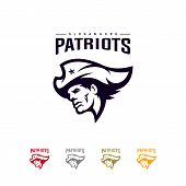 Patriots Logo Design Vector. Head Patriots Logo Design Template. Patriots Shield Logo Concept poster