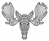 Zentagl Zenart Doodling Elk Vector. Zen Art Style. Zoo Animal Ethnic Tribal African Print Suits As T poster