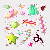 Sweet Cartoon Candy Set. Collection Of Sweets, Cartoon Style. Jelly, Candy, Cakes, Sweet Donut And M poster