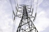 Electricity Pole Against Blue Sky Clouds In Dawn Time, Transmission Line Of Electricity To Rural, Hi poster