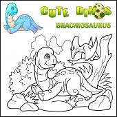 Little Cartoon Prehistoric Dinosaur Brachiosaurus, Coloring Book, Funny Illustration poster