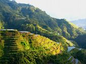 stock photo of ifugao  - A shot of the Banaue rice terraces in the Philippines at sunset - JPG
