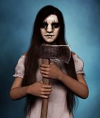 Sister Of Clown,portrait Of A Killer Clown Woman With Hatchet,3d Rendering poster