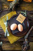 Easter Table Setting. Fresh Eggs On Plate. Spring Table. Flatlay Overhead Shot poster