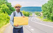 Short General Directions. Man Bearded Hitchhiker Stand At Edge Of Road With Blank Paper Sign, Copy S poster