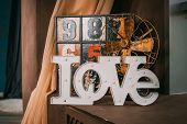 Wooden Letters Forming Word Love Written On Wooden Background. St. Valentines Day.old Funny Decorati poster