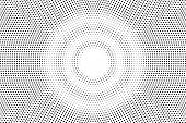 Black On White Faded Halftone Texture. Round Dotwork Gradient. Round Vector Background. Monochrome H poster